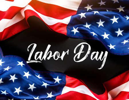 Foto de Happy Labor day banner, american patriotic  with USA flag - Imagen libre de derechos