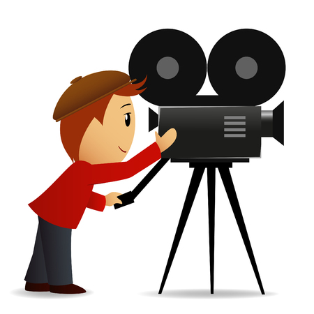 Vector illustration. Cartoon man shoot the cinema with movie camera