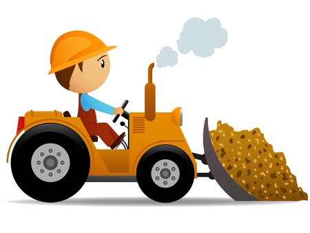 Cartoon bulldozer at construction work with worker driver. Vector illustration.