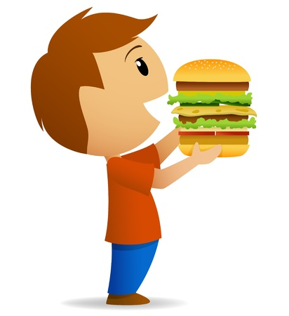 Young men going to eat big hamburger  Vector illustration