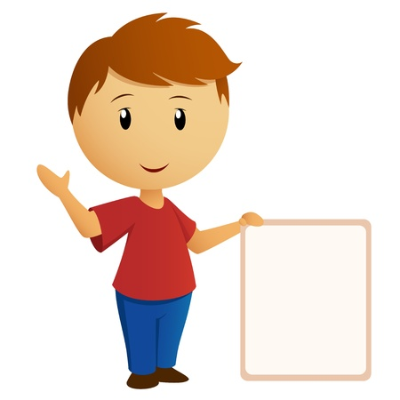 Vector illustration  Greeting boy in red shirt with empty banner placard