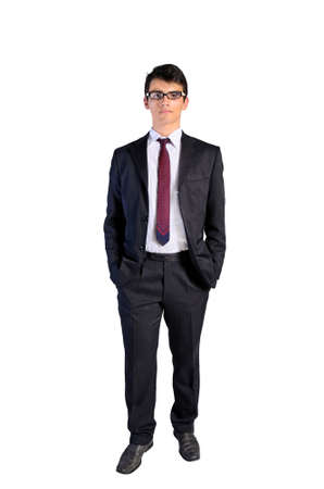 Young business man standing on white background
