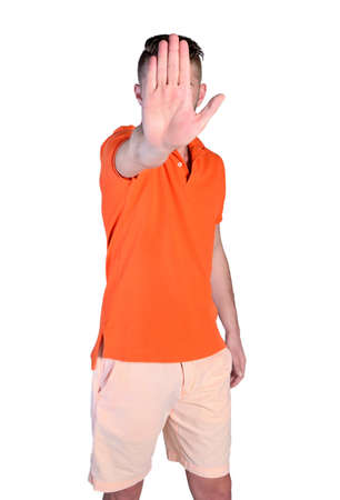 isolated young man showing palm rejection