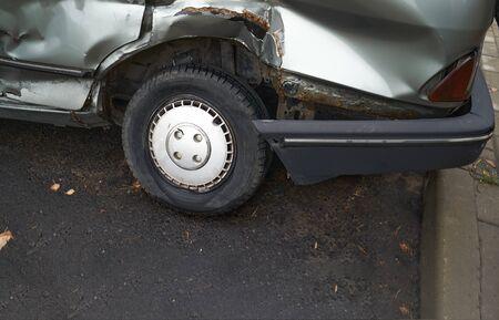 Photo pour Car accident or accident. The broken parts of the car closeup. - image libre de droit