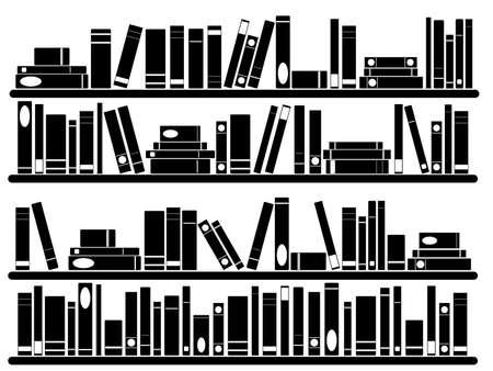 Ilustración de Books on the shelves illustrated on white - Imagen libre de derechos