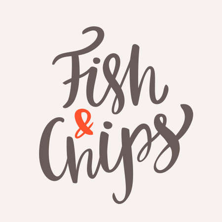 Fish and chips. Hand lettering. Vector hand drawn illustration.