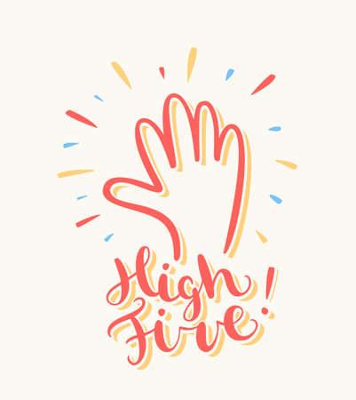 Ilustración de High five. Greeting card. - Imagen libre de derechos