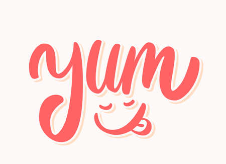 Yum. Yummy word. Vector lettering.