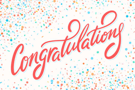 Illustration pour Congratulations card. Hand lettering - image libre de droit