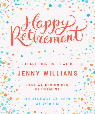 Illustration pour Happy retirement. Party invitation. - image libre de droit