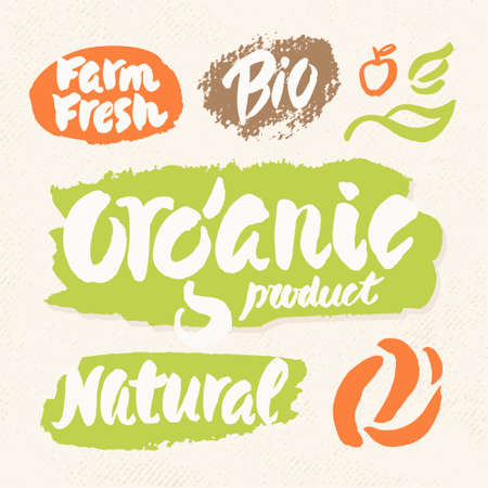 Organic, natural, bio and farm fresh. Set of labels for organic and natural food.