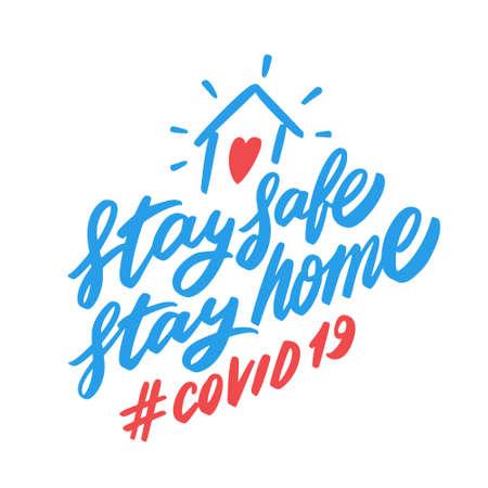 Illustration pour Stay safe. Stay home. COVID 19. - image libre de droit
