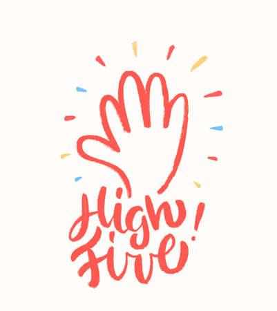 Illustration pour High five. Greeting card. - image libre de droit