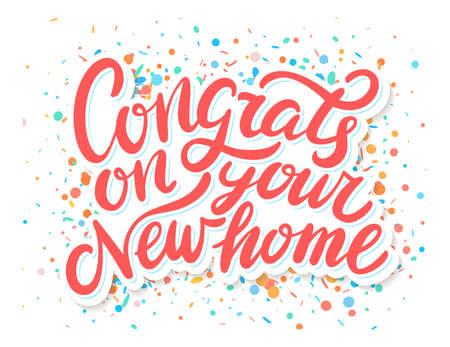 Illustration pour Congrats on your New Home. Vector handwritten lettering. Greeting card. - image libre de droit