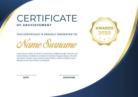 Illustration for Elegant blue and gold certificate template - Royalty Free Image
