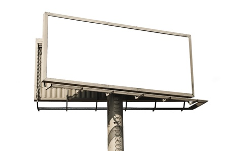 Empty billboard isolated on white