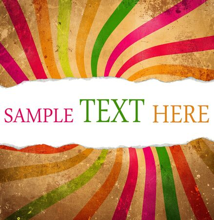 Multicolored retro background with teared corner for your text space