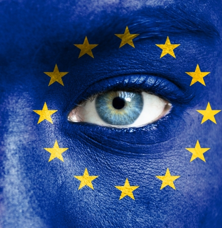 Human face painted with flag of European Union