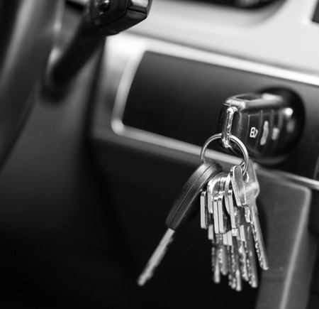 Car keys in black and white