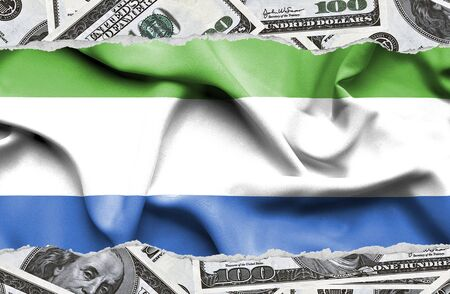 Financial concept with banknotes of US currency around national flag of Sierra Leone