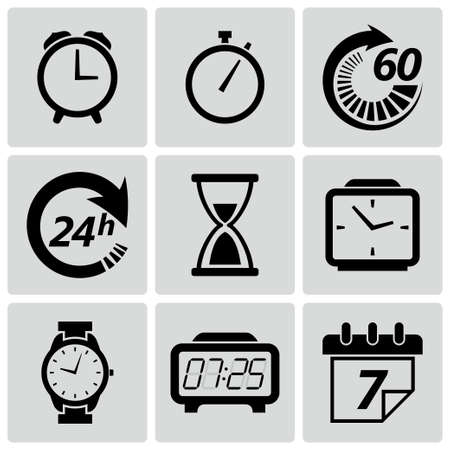 Vector illustration of clock and time icon set