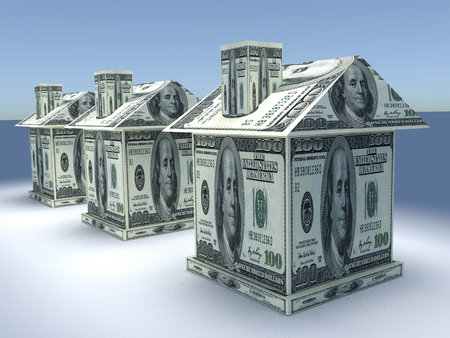 Photo pour Tree 3d houses from the money dollars. Business concept - image libre de droit