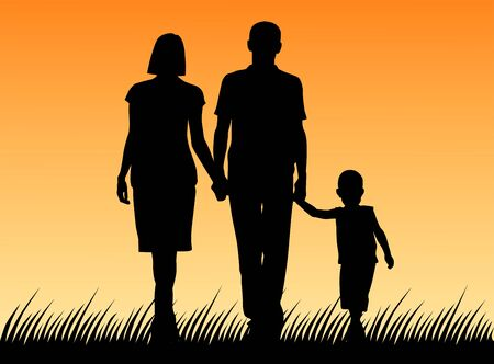 Illustration pour Vector illustration of a family. Silhouette of father and mother and son - image libre de droit