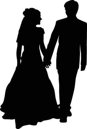 Illustration for Vector silhouette of a bride and groom holding hands. The wedding couple is looking at each other - Royalty Free Image