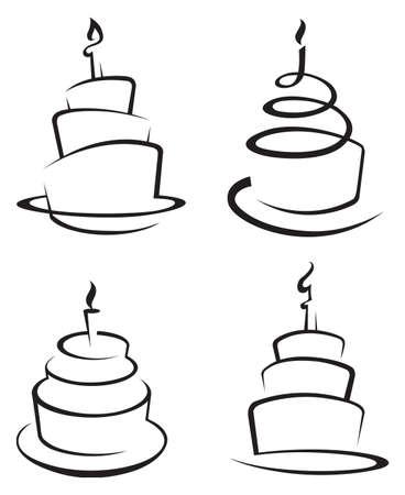 Vektor für monochrome set of four cakes - Lizenzfreies Bild
