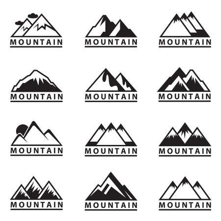 Illustration pour monochrome set of twelve mountain icons - image libre de droit