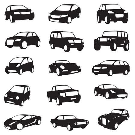 Foto de set of fifteen black cars silhouettes - Imagen libre de derechos