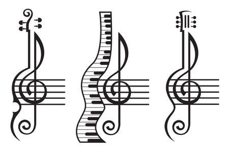 monochrome illustration of violin, guitar, piano and treble clef