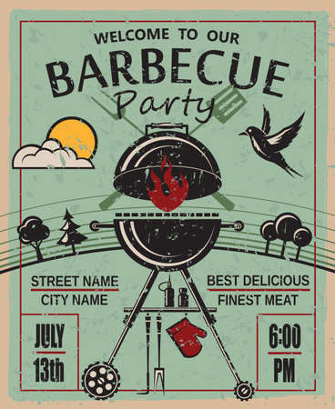 Illustration pour design of invitation card on barbecue party - image libre de droit