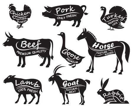 monochrome illustration of nine farm animals