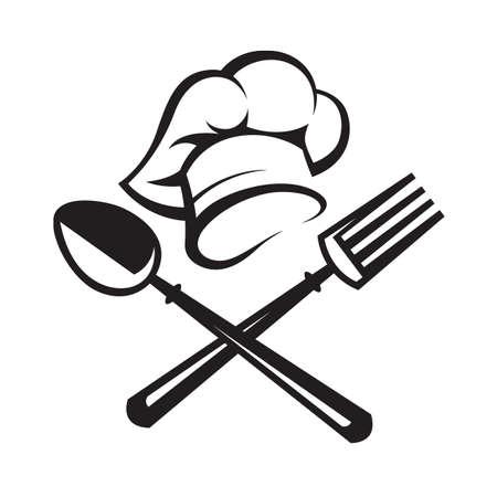 Vektor für black illustration of spoon, fork and chef hat - Lizenzfreies Bild