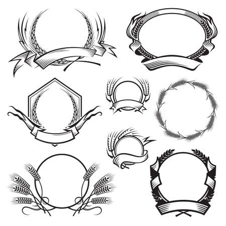 monochrome illustration with different frames with ears of wheat