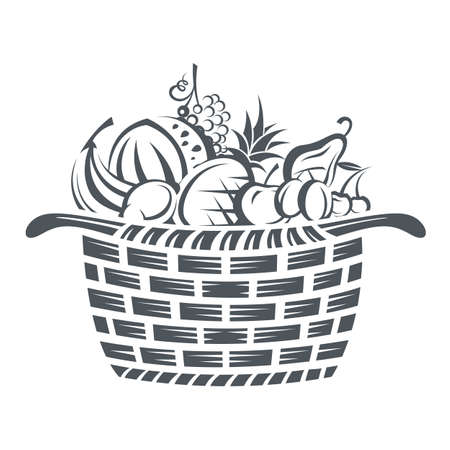 Foto de monochrome illustration of basket with various fruits - Imagen libre de derechos