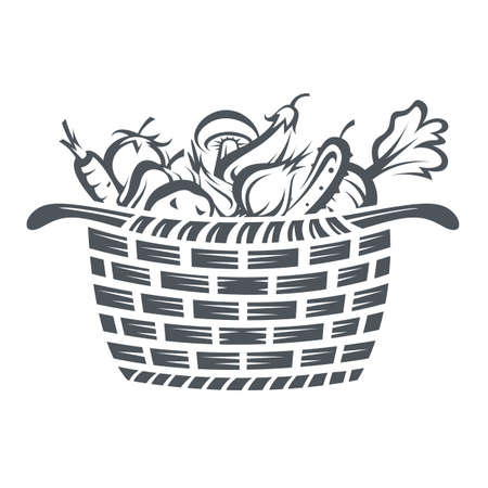 monochrome illustration of basket with various vegetables