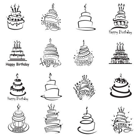 Photo pour monochrome set of sixteen cakes - image libre de droit