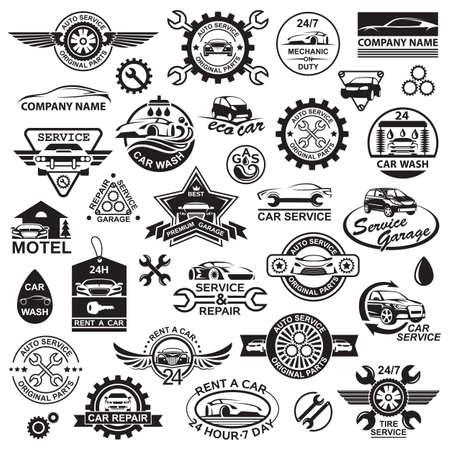 Illustration pour monochrome illustration of various car icons - image libre de droit