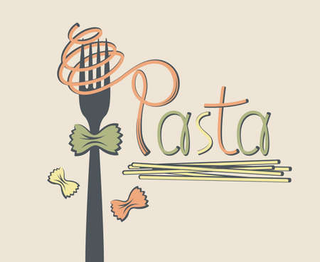 illustration of fork with pasta as text