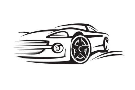 Ilustración de abstract monochrome illustration of a car - Imagen libre de derechos