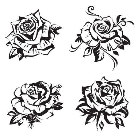Illustration pour black rose set on white background - image libre de droit