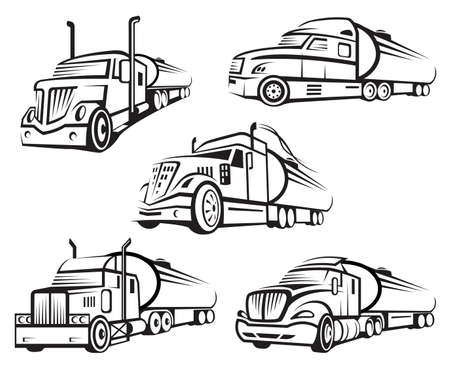 Illustration for monochrome set of four tank truck - Royalty Free Image