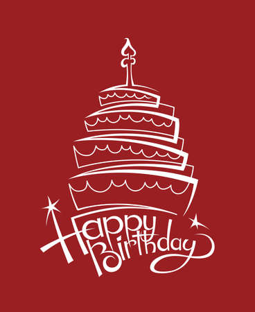 Design Of Birthday Cake On Red Background Royalty Free Vector Graphics