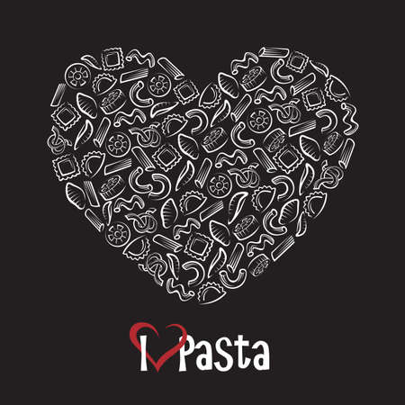 illustration of various pasta elements as heart on black background