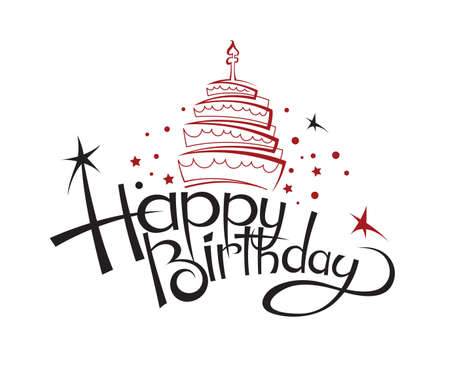 Illustration for happy birthday card design with cake - Royalty Free Image