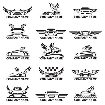 Ilustración de collection of car logos with wings - Imagen libre de derechos