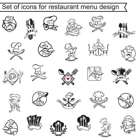 Illustration for collection of icons for restaurant menu design - Royalty Free Image