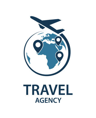 travel logo image with airplane and earth
